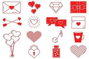 um conjunto de coleção de dia dos namorados de elementos vetoriais editáveis com curso editável. ícones isolados em um fundo branco vetor