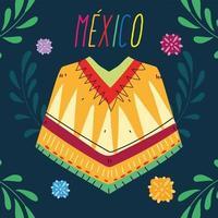 etiqueta méxico com roupas poncho, poncho mexicano típico vetor