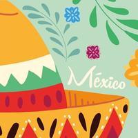 etiqueta mexico com chapéu mexicano, pôster vetor