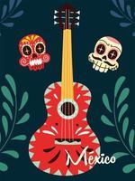 gravadora mexicana com guitarra mexicana, instrumento musical vetor