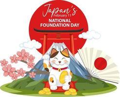 banner do dia da fundação nacional do Japão com gato japonês vetor