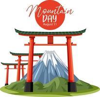 dia da montanha no banner do japão com portão torii e monte fuji vetor