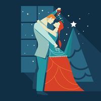 Beijar sob o visco é uma tradição vetor