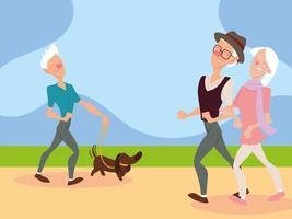 casal de idosos caminhando e o velho caminhando com um cachorro no parque vetor