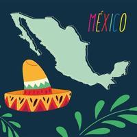 etiqueta do México com mapa e chapéu mexicano, pôster vetor