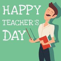 feliz dia dos professores cartão com homem vetor