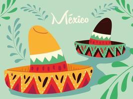 etiqueta México com chapéus mexicanos, pôster vetor