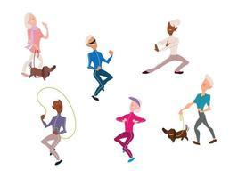 idosos fazem atividade física, idosos ativos vetor