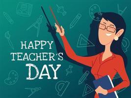 feliz dia dos professores cartão com mulher vetor