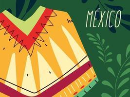 etiqueta do México com o típico poncho mexicano vetor
