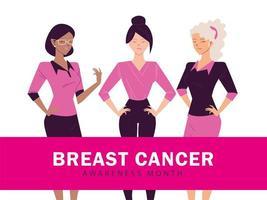 mês de conscientização sobre câncer de mama com mulheres vetor