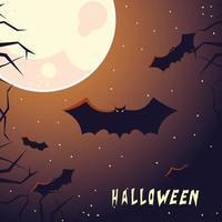 cartão de halloween com lua cheia e morcegos vetor
