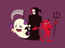 conjunto de personagens fantasma de halloween, morte e demônio vetor