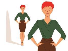 mulher de negócios fofa em diferentes poses vetor