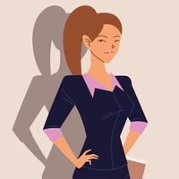 retrato de mulher de negócios com papéis nas mãos vetor