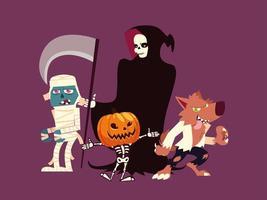 conjunto de personagens halloween lobisomem, múmia, morte, abóbora e esqueleto vetor