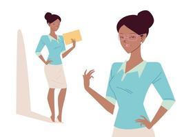 linda mulher de negócios afro em diferentes poses vetor