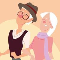 casal idoso caminhando, idosos ativos vetor
