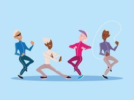 grupo de idosos faz atividade física, idosos ativos vetor