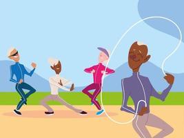 grupo de idosos faz atividade física no parque, idosos ativos vetor
