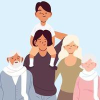 retrato de uma grande família, pais, avós e filho vetor