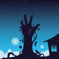 fundo de halloween com mão de zumbi vetor