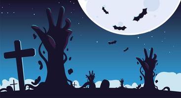 fundo de halloween com mãos de zumbis no cemitério e na lua cheia vetor