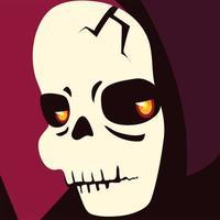 personagem de cabeça da morte para feliz dia das bruxas vetor
