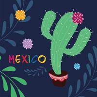 etiqueta do México com cacto fofo, pôster vetor