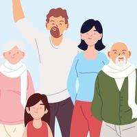 retrato de família, pais, avós e filha vetor