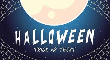 cartão de halloween com lua cheia, doce ou travessura vetor