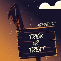 cartão com corvo na noite escura de halloween vetor