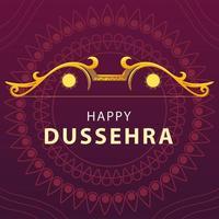 cartão do feliz festival dussehra com letras douradas vetor