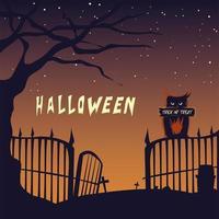 cartão de halloween com coruja no cemitério vetor