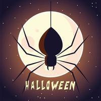 cartão de halloween com lua cheia e aranha vetor