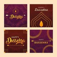 conjunto de cartas para a celebração do festival indiano dussehra vetor