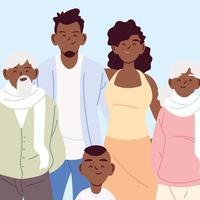retrato de uma família fofa, pais, avós e filho vetor