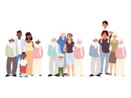 conjunto de famílias, lindas famílias juntas vetor