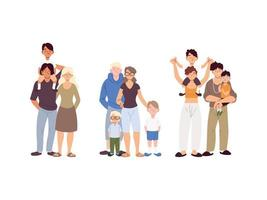 grupo de famílias, gerações de famílias juntas vetor