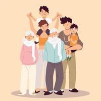 grande família, pais, avós e filhos vetor