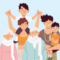 retrato de família, pais, avós e filhos vetor