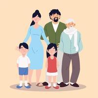 grande família, pais, avô e filhos vetor