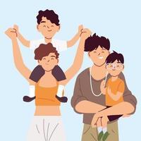 retrato de família feliz, pais com filhos de mãos dadas vetor