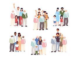 conjunto de belas famílias, gerações de famílias juntas vetor