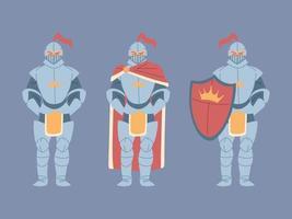 conjunto de cavaleiros medievais em armadura vetor