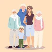 família fofa, pais, avós e menino vetor