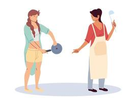 mulheres com utensílios de cozinha em fundo branco vetor