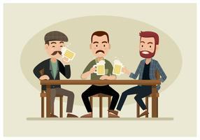 Três caras bebendo cerveja vetor