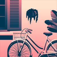 Bicicleta abaixo da janela vetor