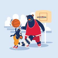 jogador de basquete de rua urso e esquilo vetor